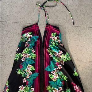 Bandana style backless Hawaiian dress